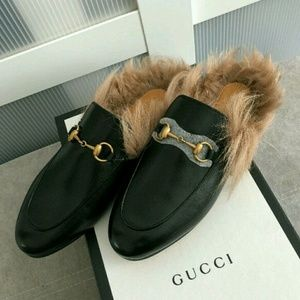 Gucci princetown with fur